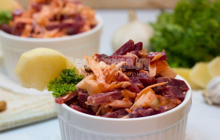 салат из свеклы и морковки, рецепт с пошаговыми фото