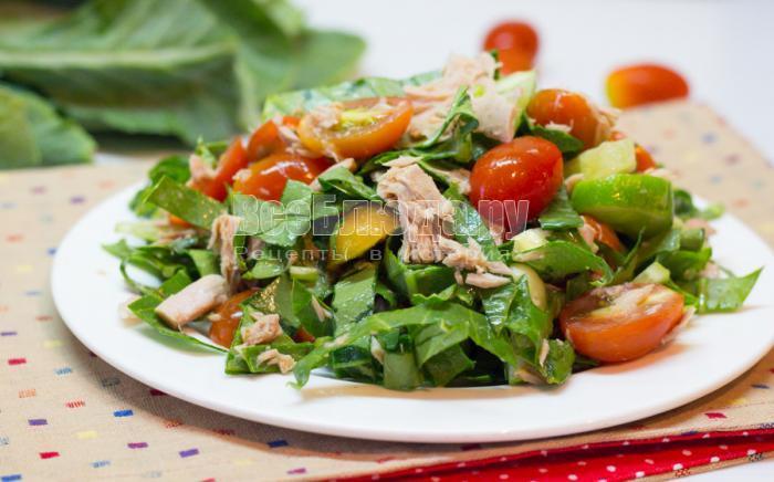 рецепт салата с консервированным тунцом и помидорами