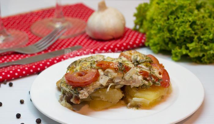 свинина с картошкой, запеченная в духовке