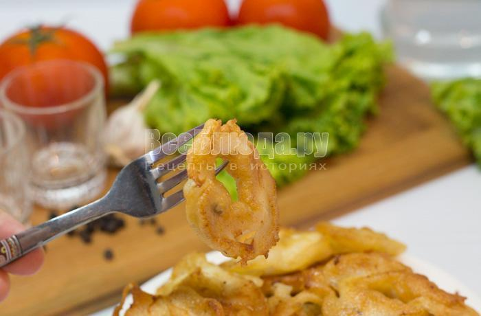 рецепт жареных колец кальмаров в кляре с фото