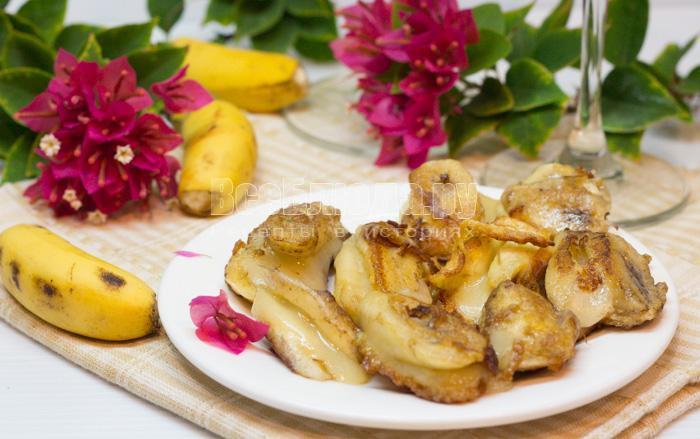 рецепт жареных бананов с сыром