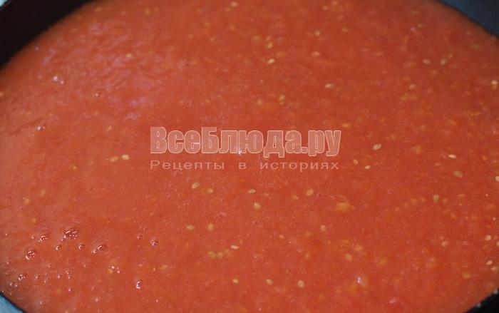 измельчить помидоры блендером