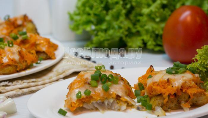рыба с морковкой под сырной корочкой