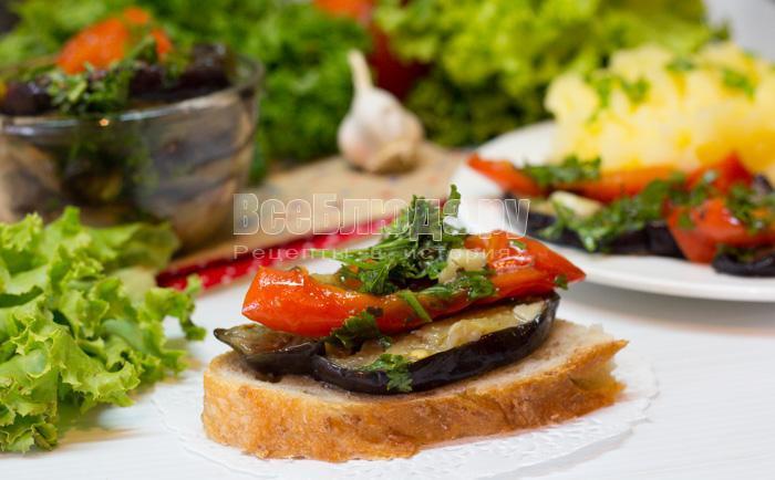 бутерброд с маринованными баклажанами