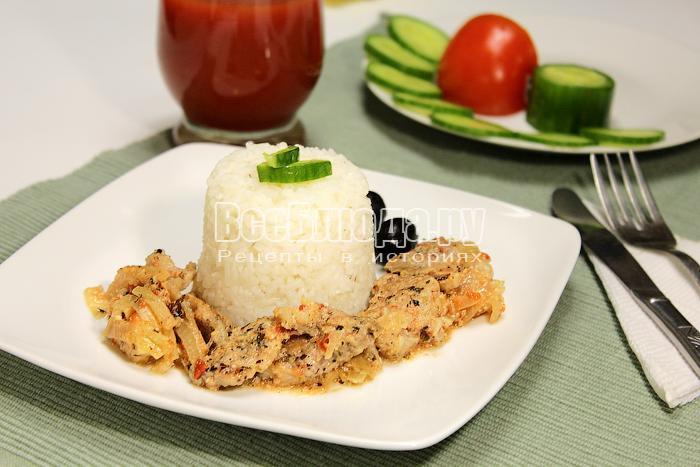 Готовое мясо с гарниром из риса