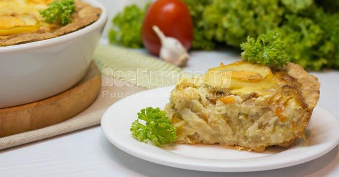 рецепт капустного пирога на корже