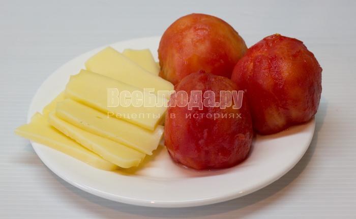 порезать помидоры и сыр