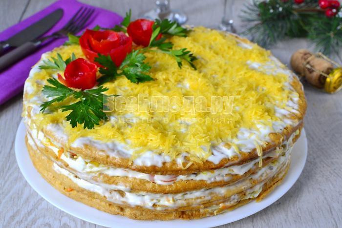готовый торт с коржами наполеон