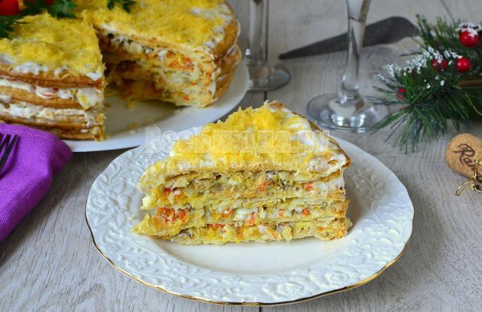 рецепт рыбного закусочного торта из коржей