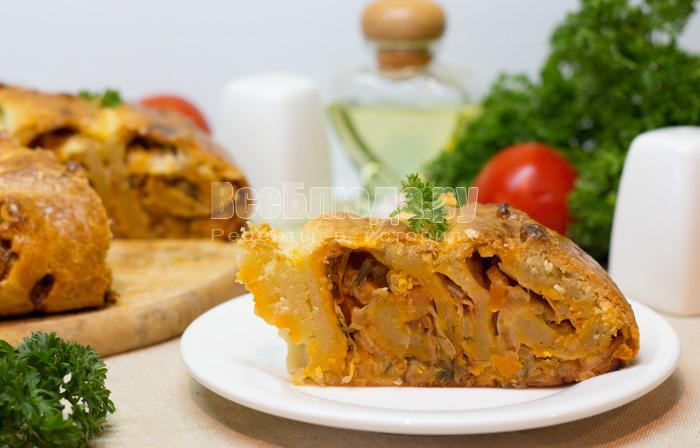 рецепт пирога с капустой на сметанном тесте