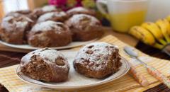 Мягкое печенье на пару с бананами (шоколадное)