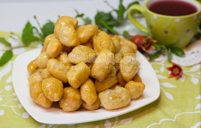 готовые баурсаки в сахарном сиропе