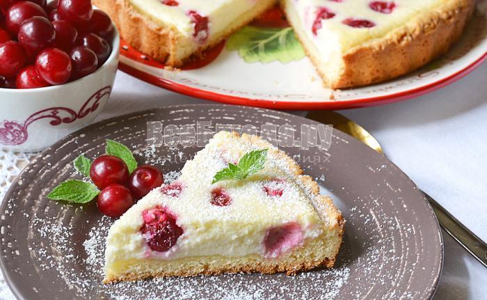 рецепт вишневого пирога с творогом и сметаной