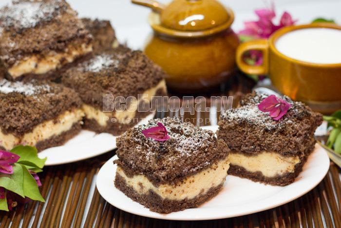 торфяной пирог с творожной начинкой