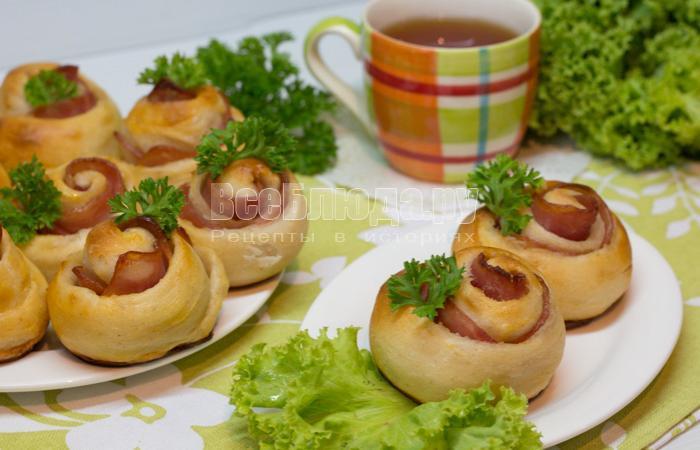 рецепт розочек с колбасой