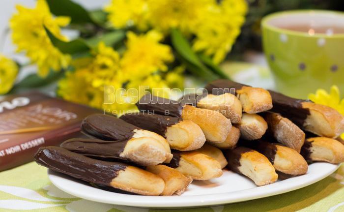 рецепт шоколадных палочек, печенье