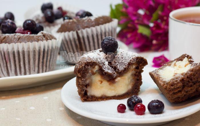 кекс с творожной начинкой рецепт с фото