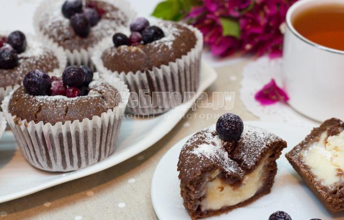 рецепт шоколадных кексов с творогом