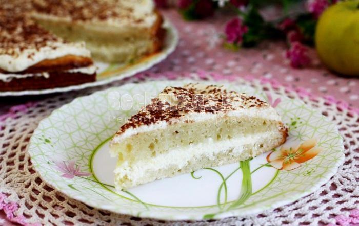 Торт с яблоками и творогом