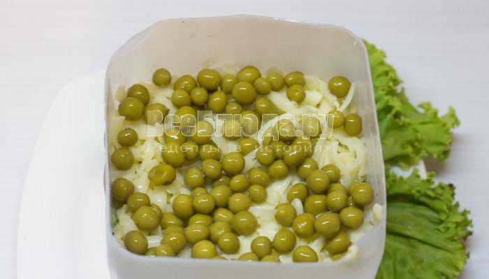 посыпать салат зеленым горошком