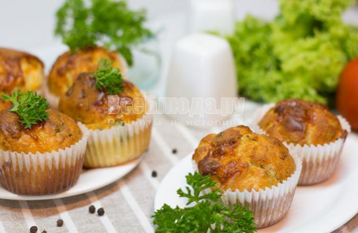 рецепт маффинов с курицей и сыром