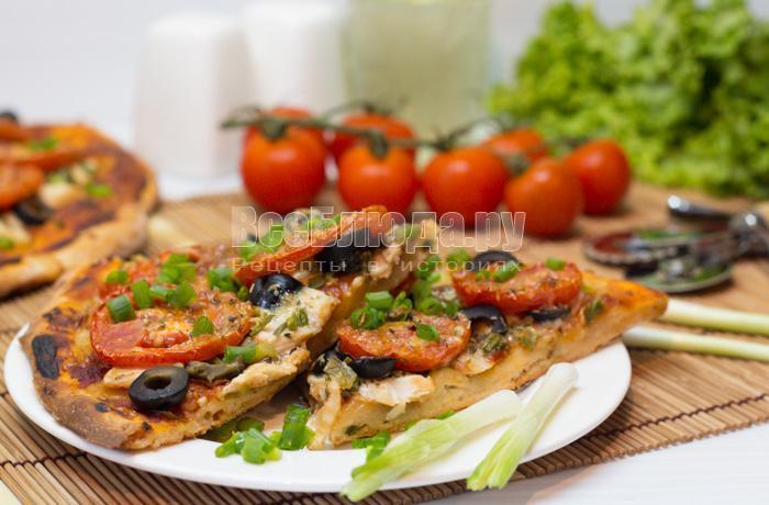 рецепт пиццы с курицей на дрожжевом тесте