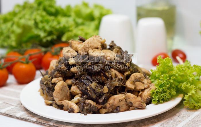 как приготовить папоротник с куриным филе на сковороде