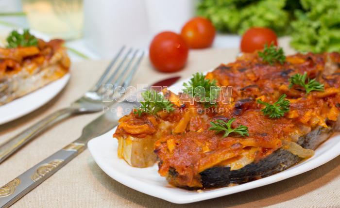 рецепт семги под помидорным соусом