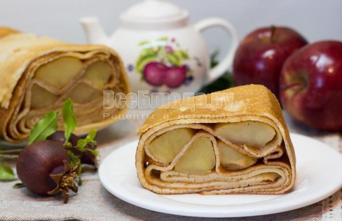 как приготовить блинный яблочный пирог