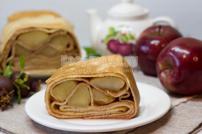 Блинный пирог с яблоками в форме кекса