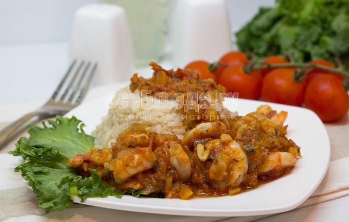 рецепт креветок в томатном соусе с чесноком
