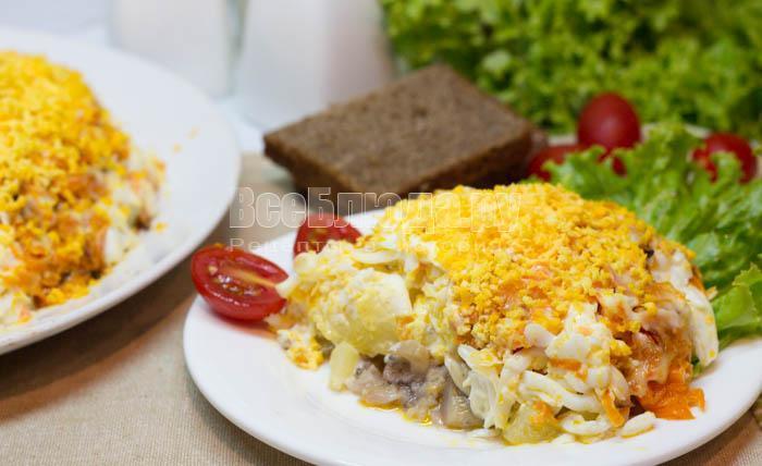 салат селедка с грибами под морковкой