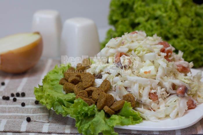 рецепт салата с семгой, яйцами и кальмарами