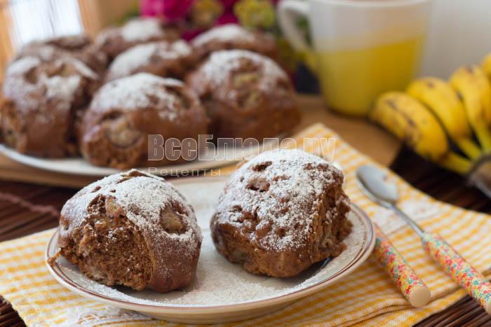 готовое печенье на пару с бананами