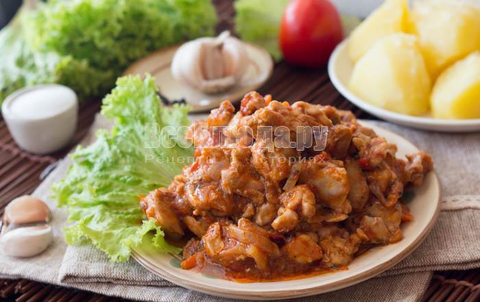 готовые куриные желудочки в томате