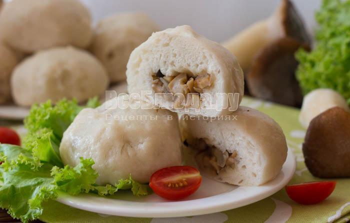 Паровые пирожки с грибами