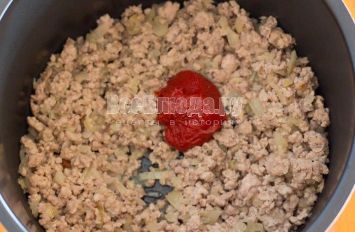 Приготовить макароны с фаршем в мультиварке