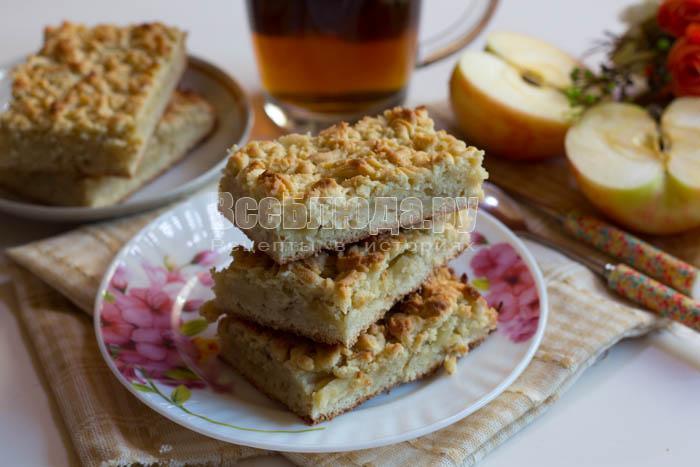 вкусный быстрый пирог с яблоками