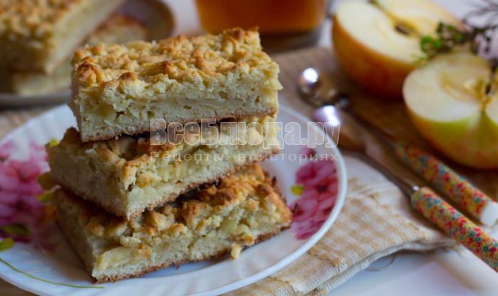 Быстрый и удобный яблочный пирог (тесто на терке)