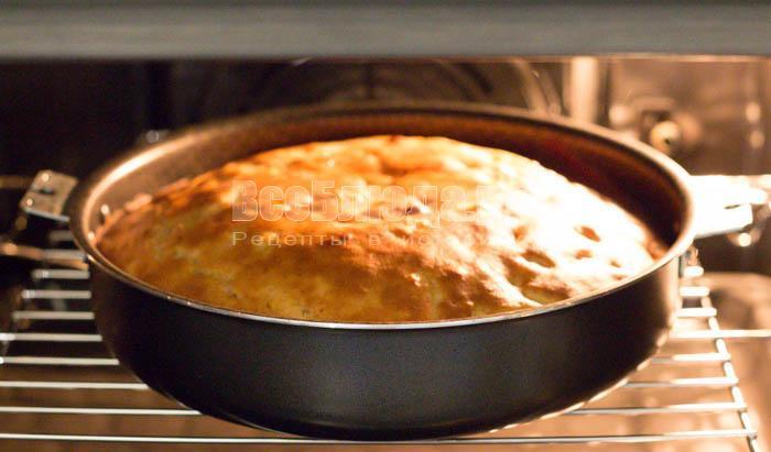 готовый яблочный пирог с медом