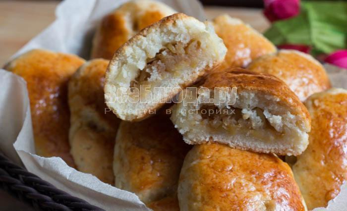 яблочные пирожки из творожного теста