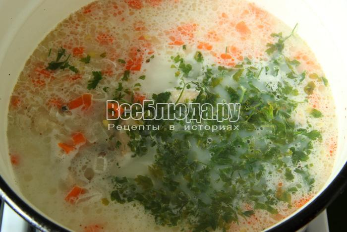готовый суп с рисом и плавленным сырком