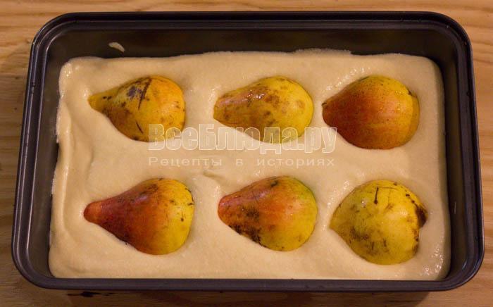 положить груши в тесто