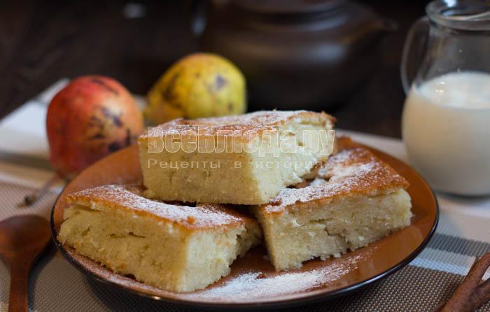 простой пирог с грушами - рецепт с фото