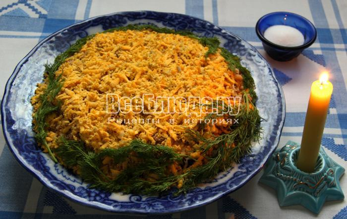 Салат Муравейник из индюшатины, картошки, яиц, грецких орехов