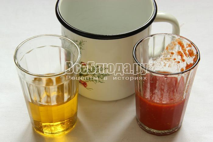 приготовить масло и томат