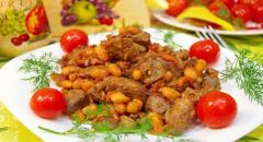 Рецепт куриной печени с фасолью