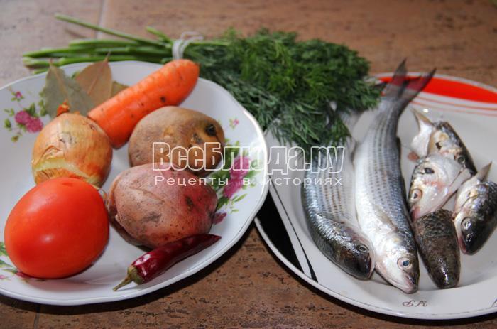 ингредиенты для рыбного супа из кефали
