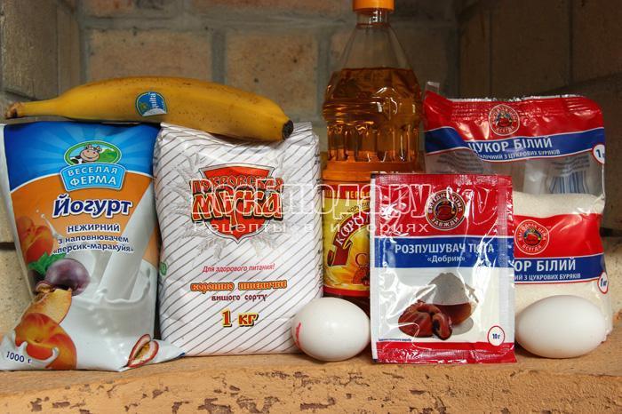 продукты для оладий с бананами