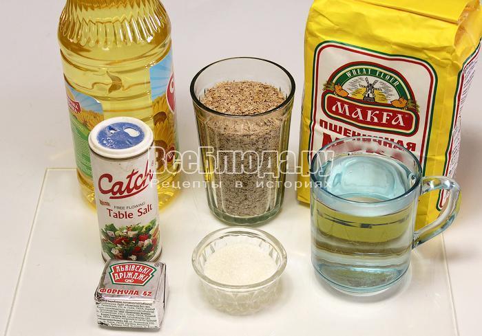 ингредиенты для выпечки отрубного хлеба
